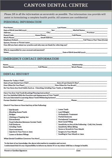 New Patient Form, Canyon Dental Centre, Vancouver Dentist